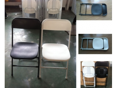 Plastic/steel folding chair B-001