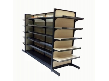 Gondola shelving with woden shelf